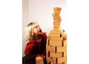 KORXX Classic Set includes 70 blocks. The blocks are made from cork, so are lightweight and perfect for quiet play.