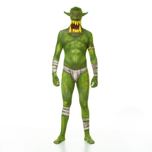 Green Orc Jaw Dropper Adult Morphsuit Costume - Straight out of Middle Earth, the Green Orc has been unleashed. Draw stares and gasps at the next Halloween party or Comic-Con you attend when you arrive in the Green Orc Jaw Dropper Adult Morphsuit Costume. This suit zips two ways and easy to see, breathe through and drink through! #YYC #Calgary #Morphsuit #Orc #Halloween