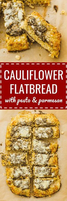 Cauliflower flatbread with pesto and parmesan: healthy, low carb flatbread recipe using riced cauliflower. Topped with pesto sauce and grated parmesan cheese. breadsticks / no flour / keto / low carb / diet / atkins / induction / meals / recipes / easy / dinner / lunch / foods / healthy / gluten free / paleo / cheesy / whole 30 / beachbody / 21 day fix / weight watchers / how to make / simple / cauliflowers / veggies / appetizers / food processor / pizza / grain free #cauliflower #bread…
