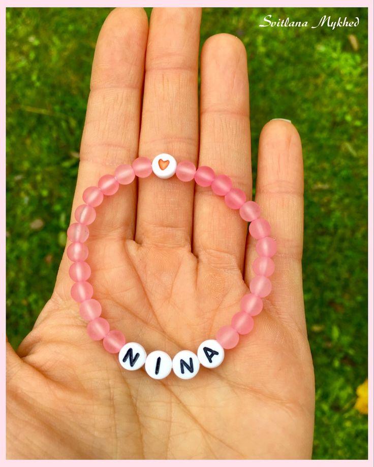 """Bracelet """"Nina"""". Bracelet personnalisé avec prenom ou message pour Bébé , Nouveau-né : Bracelet par perles-et-couronnes"""