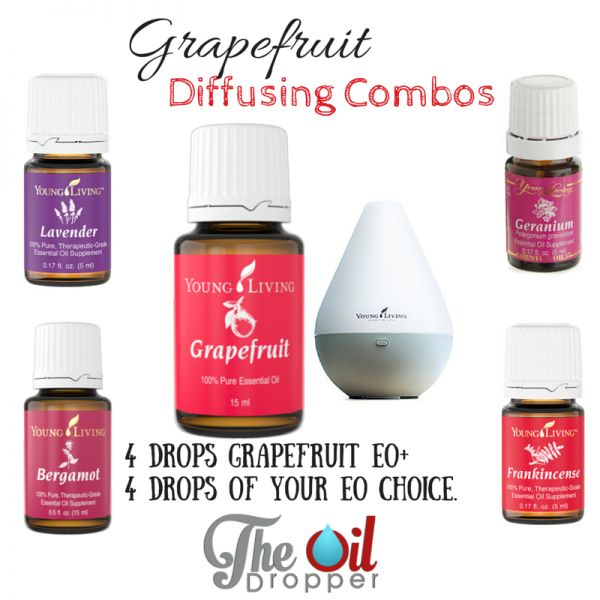 Oils to add to Grapefruit for a divine uplifting experience. Find out more at www.theoildropper.com/grapefruit