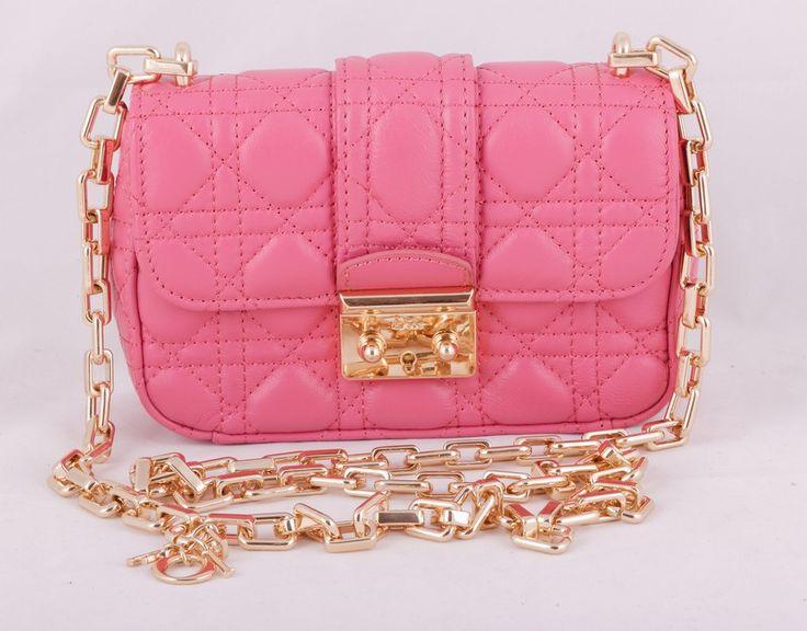 Небольшая сумочка Dior (Диор) из натуральной кожи розового цвета. Размер 20x13x7cm #19768