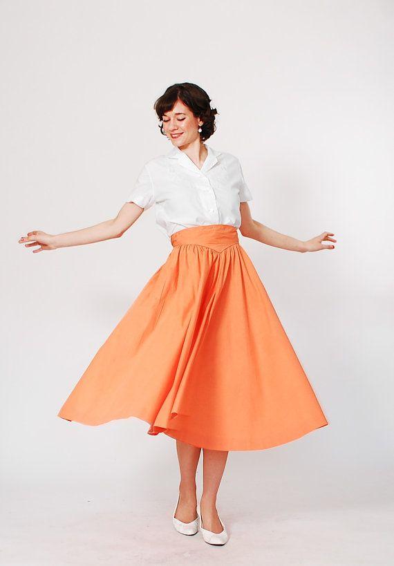 1950s Skirt - 50s Full Skirt - Sunset Orange via Etsy