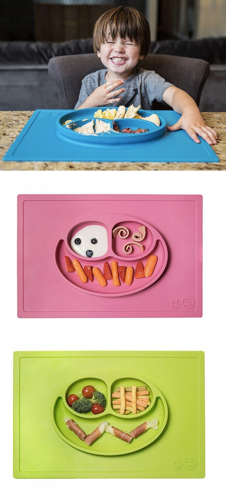 Happy Mat is dishwasher safe, so cleaning is a snap. And if your kid takes a while to eat, the Happy Mat goes right in the microwave. It's FDA-approved, made with a 100% safe silicone. And it stores easily, and doesn't leave marks on surfaces, so it's great on plane trips. You can use it for craft time, too.