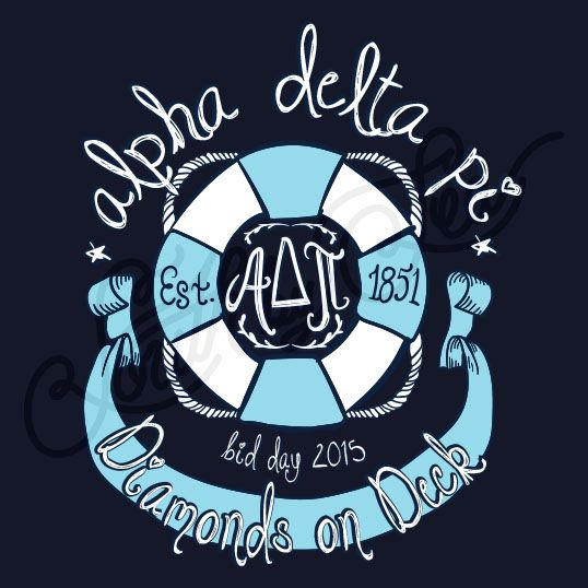 Alpha Delta Pi | ADPi | Diamonds on Deck | Bid Day Tee Shirt Designs | Nautical…