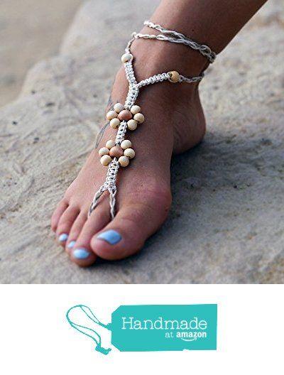 Hemp Barefoot Sandal, Foot Jewelry, Wood Beads, Flower Sandals from Hemp Craze