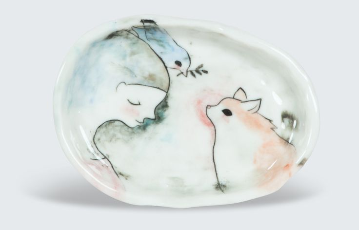Gorgeously magical hand made and painted porcelain dish for rings, jewellery and precious small items. Erinswindow pours her heart and soul into her delicate pieces which add an artistic element to any room.