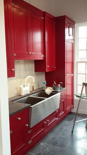 Red Cabinets / Fine Paints of Europe ECO Satin