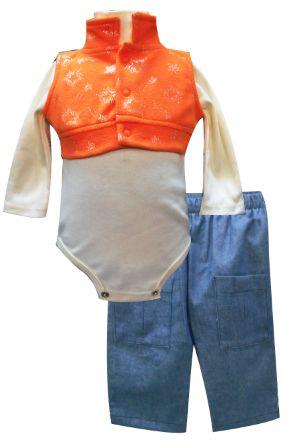 Chaleco con pretina y cuello mano, multiprenda manga larga cuello alto y pantalón de mezclilla. Tallas 3, 6, 12 y 18 meses.