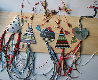 christmas ornaments - by Xanthippe Tsalimi. Great idea for tags and ribbon on presents