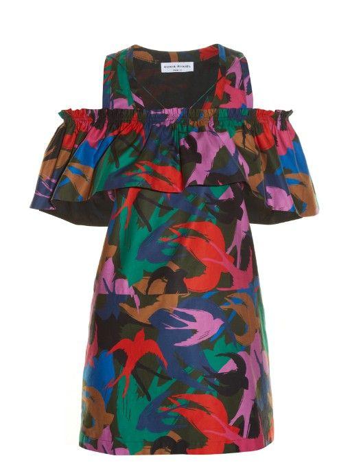 SONIA RYKIEL Swallow Camouflage-Print Satin Top. #soniarykiel #cloth #top