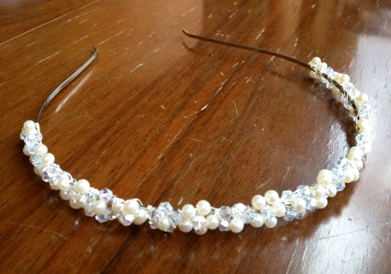 Handmade pearl and crystal headband