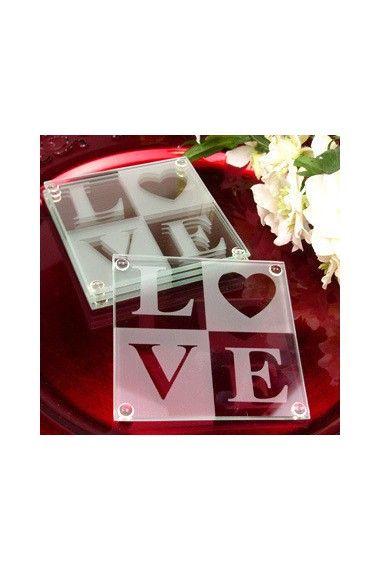 LOVE Glass Wedding Coaster Favors
