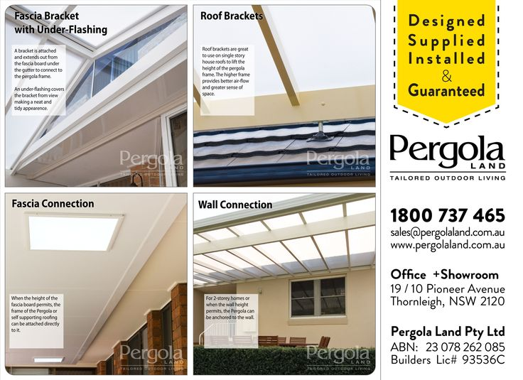 There are four standard way a Pergola Frame can connect to the house. From the wall; the fascia board under gutter; in-front of the gutter using fascia brackets and a under-flashing; or above the gutter line on the roof using roof brackets.