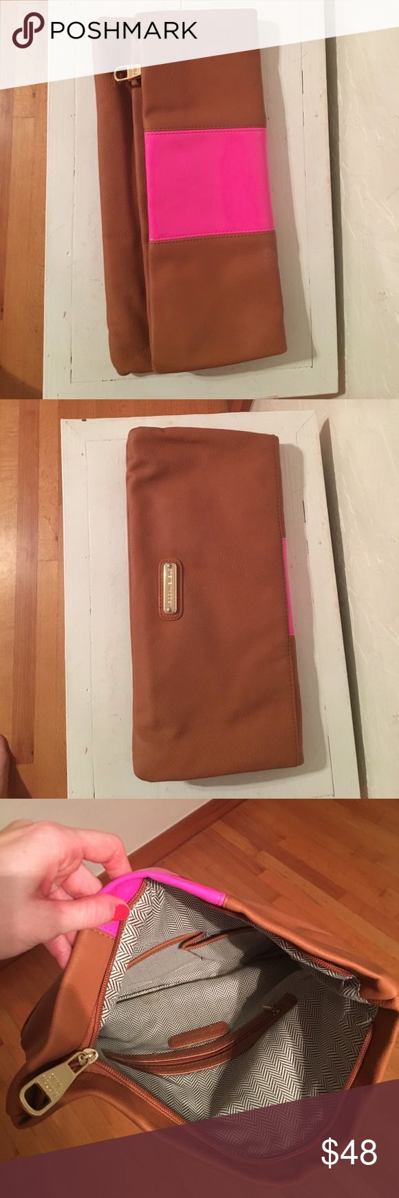 Steve Madden Folder Over Clutch Brown with a pink stripe clutch! Great for summer! Steve Madden Bags Clutches & Wristlets
