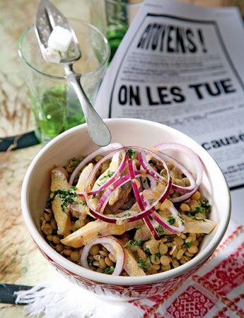 Французские рецепты: салат с чечевицей и сельдью