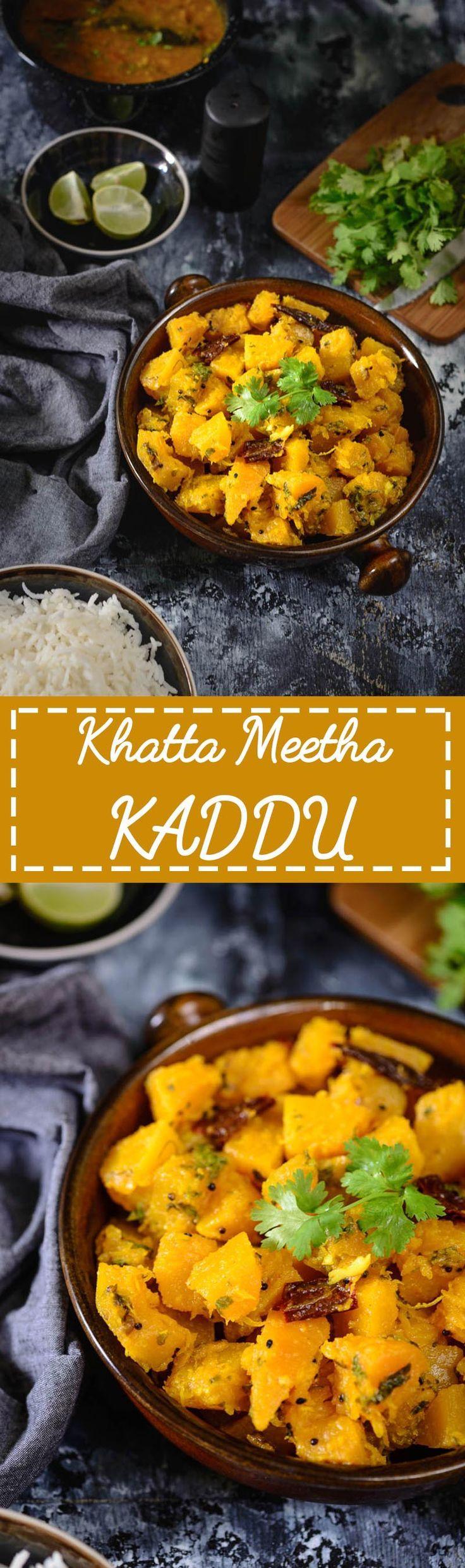 Khatta Meetha Kaddu recipe is a simple everyday Indian vegetarian dish made using pumpkin. It goes very well with paratha or Poori. Read its recipe. #Indian #Pumpkin #Sabzi #Sabji #Curry #Sweet #Sour #Vegetarian