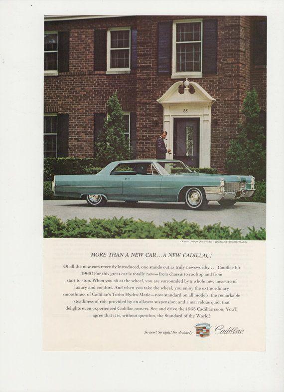 =-=1965 Cadillac Advertisement General Motors 65 Automotive 60s GM