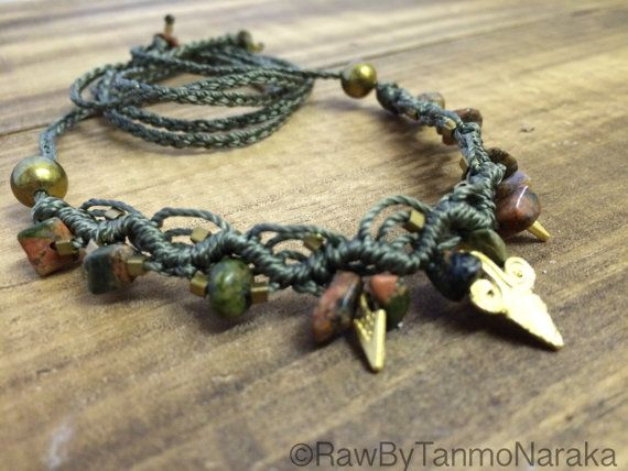 Macramé Necklace Tiara Headband with Unakite Healing Bead Natural Stones Brass beads and Charms � Gypsy Bohemian � Hippie � Native