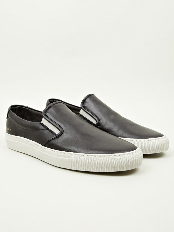 Common Projects Men s Black Leather Slip-On Sneakers  4a54d59bc9dc