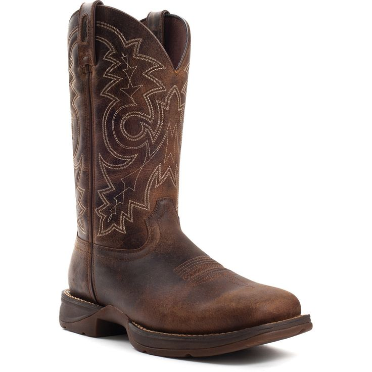 Rebel by Durango Mens Brown Leather Square Steel Toe Cowboy Boots