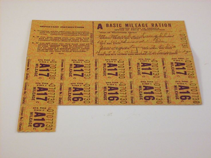 "WORLD WAR II GAS MILEAGE RATION STAMPS - COUPON BOOK   WITH 11 STAMPS "" A """