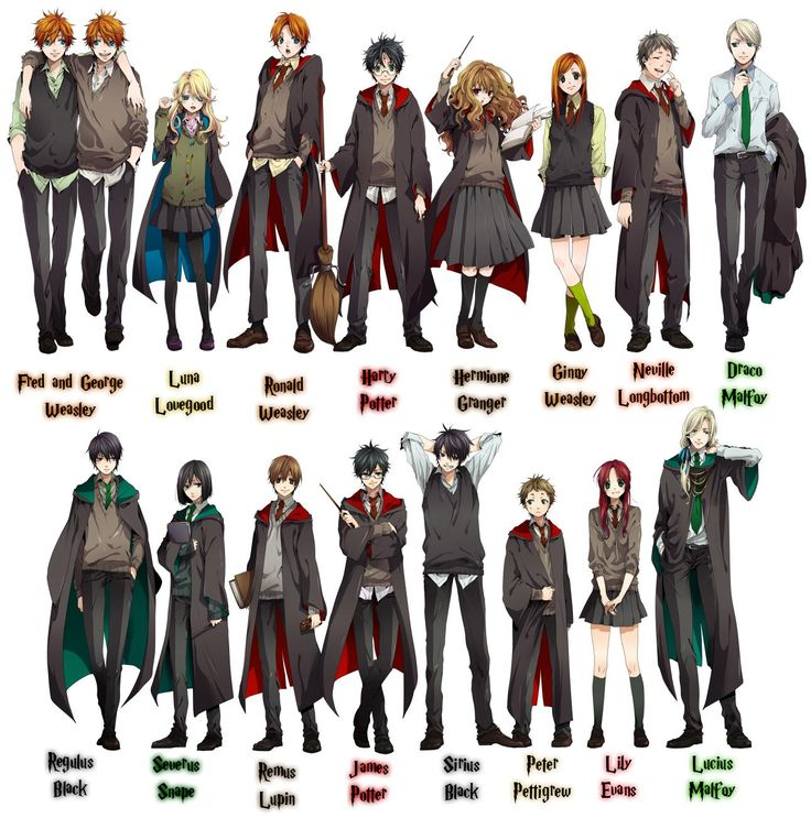 Photo Of Potter Characters For Fans Harry Anime This Is A Bunch The With Their Names Underneath I Dont Own Btw