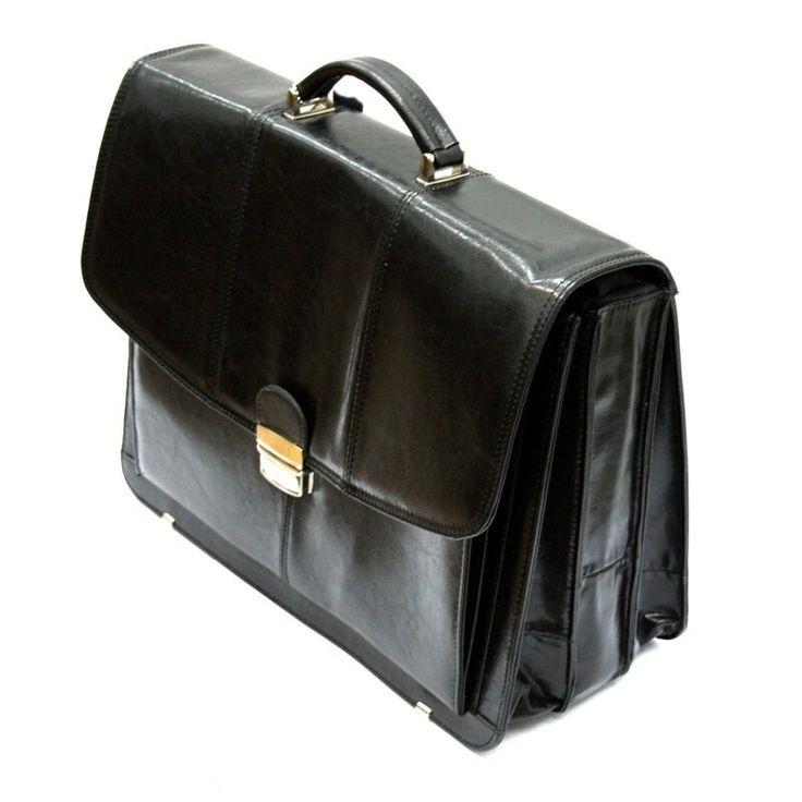 Teczka męska ze skóry naturalnej, trzykomorowa, czarna, na laptopa+mini biuro