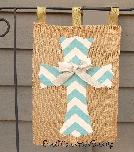 Burlap Cross Garden Flag, Outdoor Yard Flag, Baptism Decoration by BlueMountainBurlap, $22.00