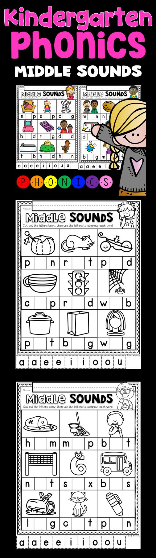 Middle Sounds ~ Introductory Phonics and Pre-Reading Skills ~ Printables  Introducing a brand phonics based series by Tweet Resources. For this activity, students are asked to cut and paste middle vowel sounds to a matching picture. These printables are perfect for your literacy stations, homework or review work.
