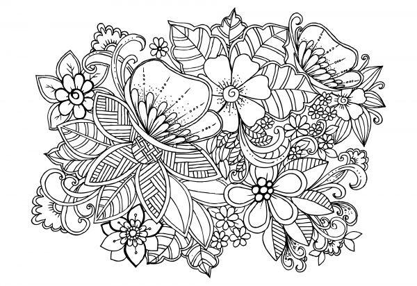 Цветочные узоры | Flower pattern Background. White and black floral doodles (51 файлов)