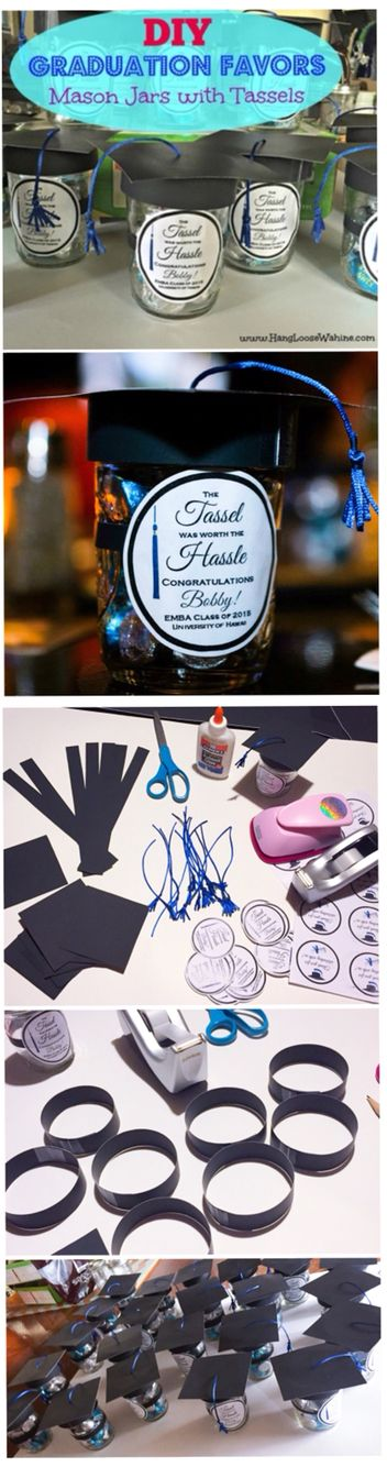 DIY Graduation Favors - Mason jars with tassels!