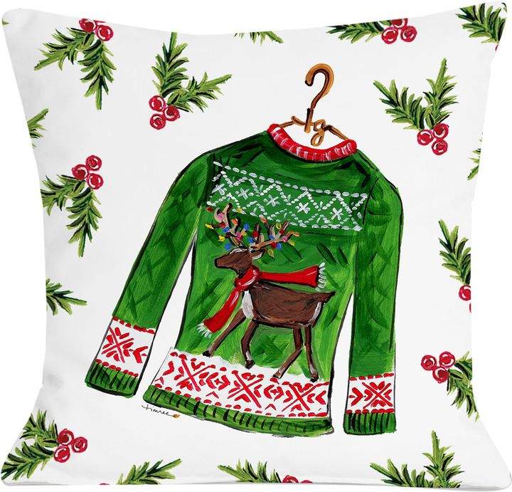 One Bella Casa Reindeer Sweater Pillow