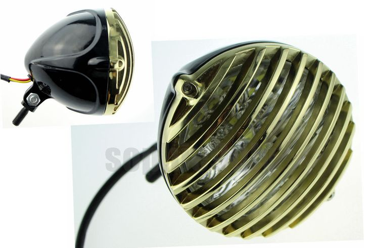 """- OLD SCHOOL """"SCALLOPED"""" ALUMINUM FINNED GRILLED & BLACK BODY 5 3/8"""" HEADLIGHT w/ CLEAR LENS. - Color: Black shell house brass ring. We are a wholesaler of motorcycle fairings and aftermarket motorcycle parts in China. 