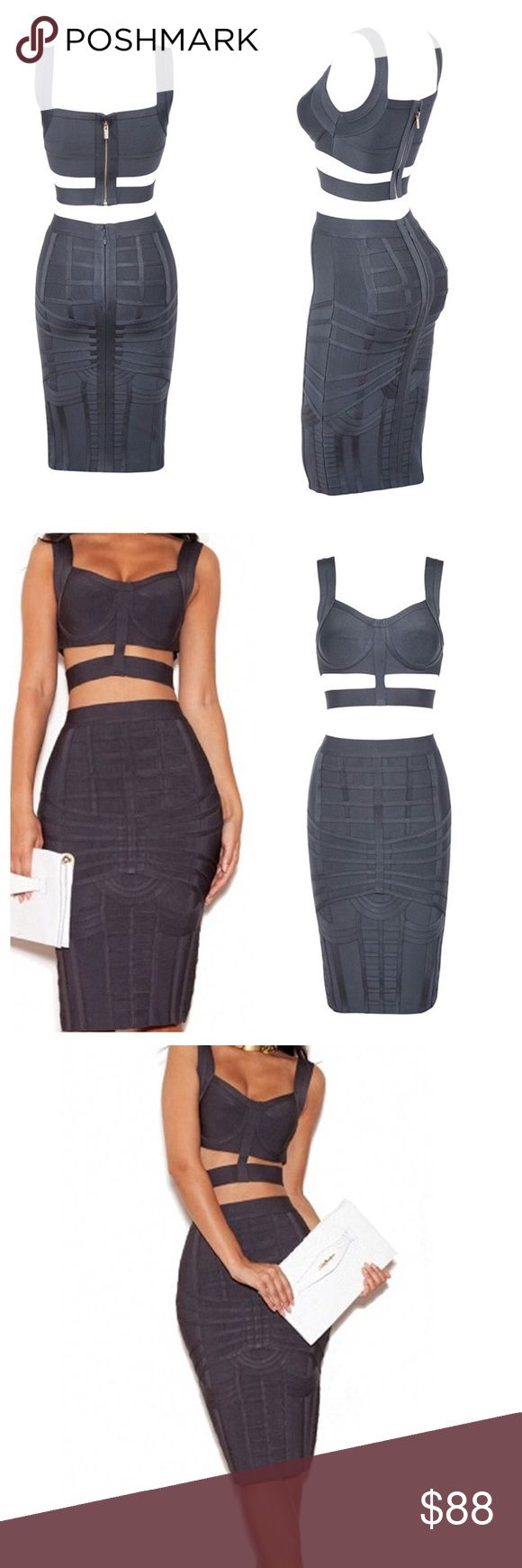 Bodycon Top Skirt Set 2 Pieces Party Bandage Brand-new Women's Rayon Bodycon Top Skirt Set 2 Pieces Party Bandage Midi Dres: Size medium. Not a smoke free 🏡 No return policy Skirts