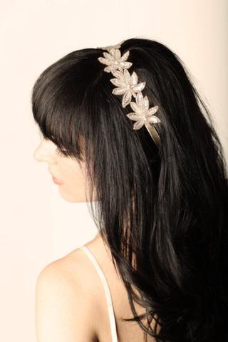 Hand Dyed, Beaded Floral Applique w/ Elastic Headband - Hair Accessory