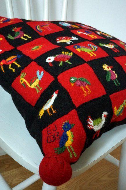 Woolen embroidery, 49 birds
