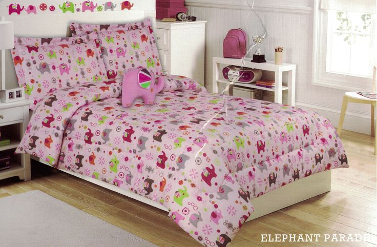 (4 Piece) Girls Pink Twin Bed Comforter Set by Cloud 9 - Elephant Parade Pattern #Cloud9