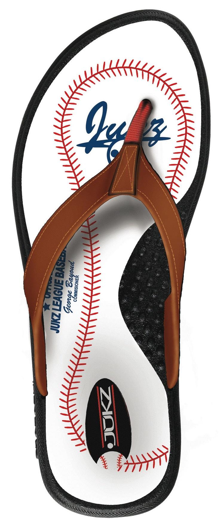 Baseball Flip Flops / Baseball Sandals / Baseball Shoes from Jukz Shoes!