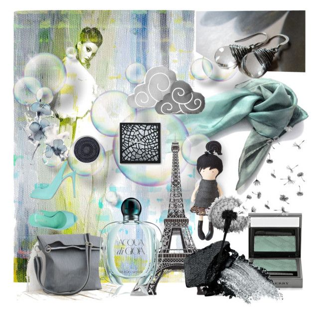 Walking in Paris by erika-hodi on Polyvore featuring Le Silla, Gorgeous Cosmetics, Burberry, Giorgio Armani, Crate and Barrel, paris, grey, fashionset and aquamarine #aqua #ombrescarf #cloudpillow #artdoll #totebag  #heramade #chinookdesign
