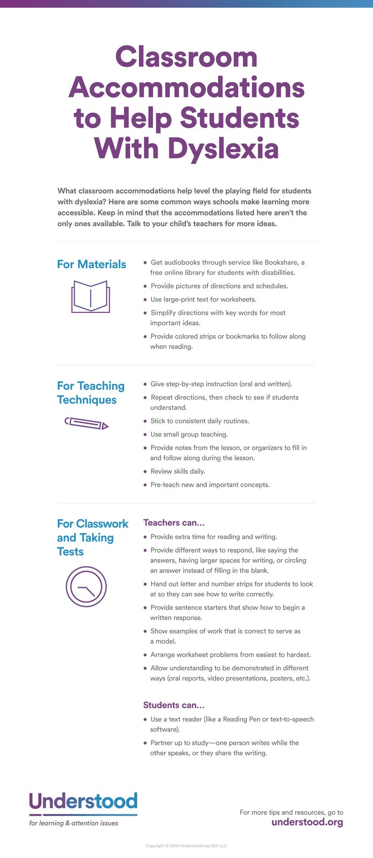 "Graphic of Classroom accommodations to help students with dyslexia....Follow for Free ""too-neat-not-to-keep"" teaching tools & other fun stuff :)"