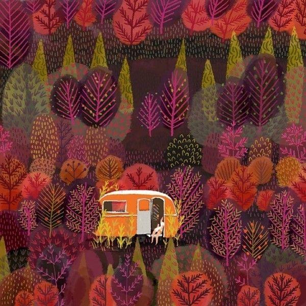 autumn camping illustration