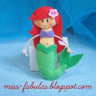 Doll brooch #Little #Mermaid handmade in felt. Broche muñeca #Sirenita hecho a mano en fieltro.