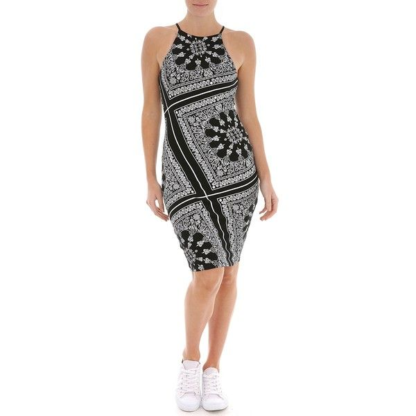 Ally Fashion Bandana Bodycon Dress ($15) ❤ liked on Polyvore featuring dresses, print, print bodycon dress, patterned bodycon dress, print dresses, body conscious dress and pattern dress