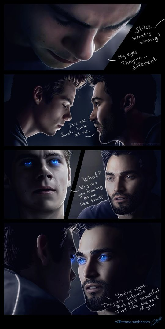 Stiles becomes a werewolf and his eyes… well after all that stuff with nogitsune they're not like he expected them to be. Lucky for him Derek knows exactly what to say to make him feel ...