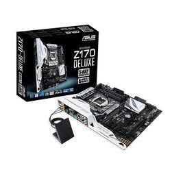 ASUS Z170-Deluxe.  • Socket Intel 1151 pour processeur Intel Core de 6ème génération (Skylake)  • 4 Slots mémoire DDR4 (jusqu'à 64 Go) •Ports SATA 6Gb/s et RAID 0/1/5/10 + SATA Express et M.2 (Socket 3)  • 3 ports PCI-Express 3.0 16x (16x/8x/4x) avec prise en charge Multi-GPU AMD CrossFireX et NVIDIA SLI  •Ports USB 3.0 et USB 3.1 (Type C) •Support des coeurs graphiques intégrés aux processeurs Intel Core (Intel HD Graphics)  •Wi-Fi AC + Bluetooth 4.0