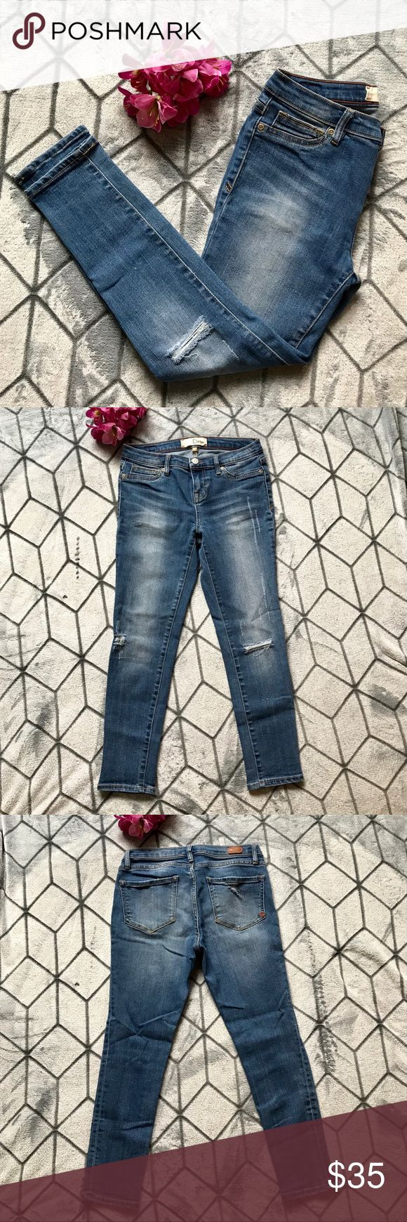 Dittos Distressed Ankle Jeans Dittos crop jeans, distressed knees, super stretchy, comfortable and flattering. 23in inseam. In excellent condition. Dittos Jeans Ankle & Cropped