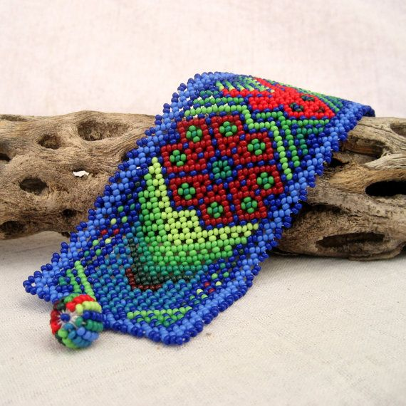 15 OFF Beaded Huichol Bracelet with Deer and by MayaMerchant