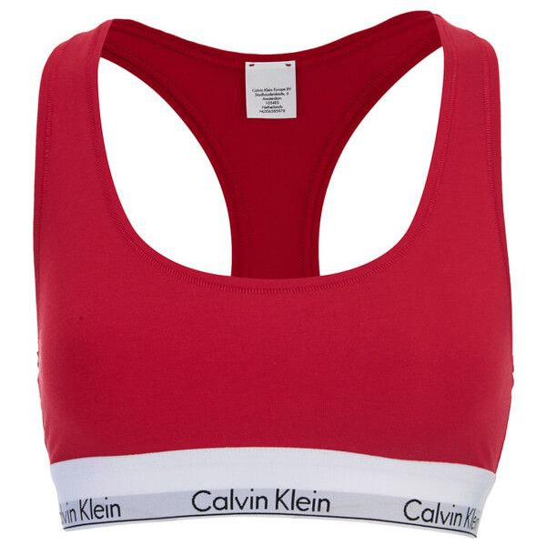 Calvin Klein Women's Modern Cotton Bralette - Defy ($40) ❤ liked on Polyvore featuring intimates, bras, calvin klein, items, underwear, red, racerback bra, cotton racerback bra, bralette bras and sports bra
