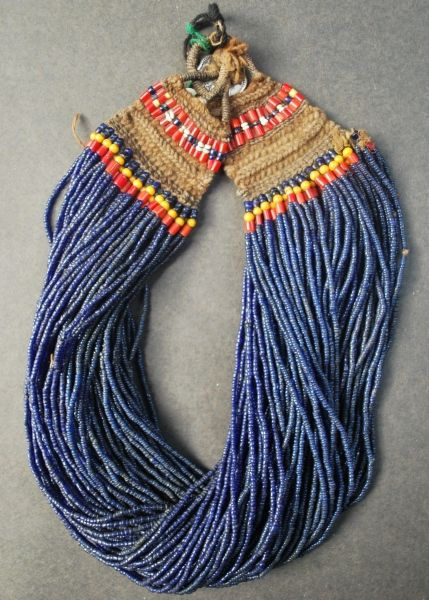 Nagaland ~ India | Necklace made out of glass beads and fiber. | Tribe: Konyak Tribe.
